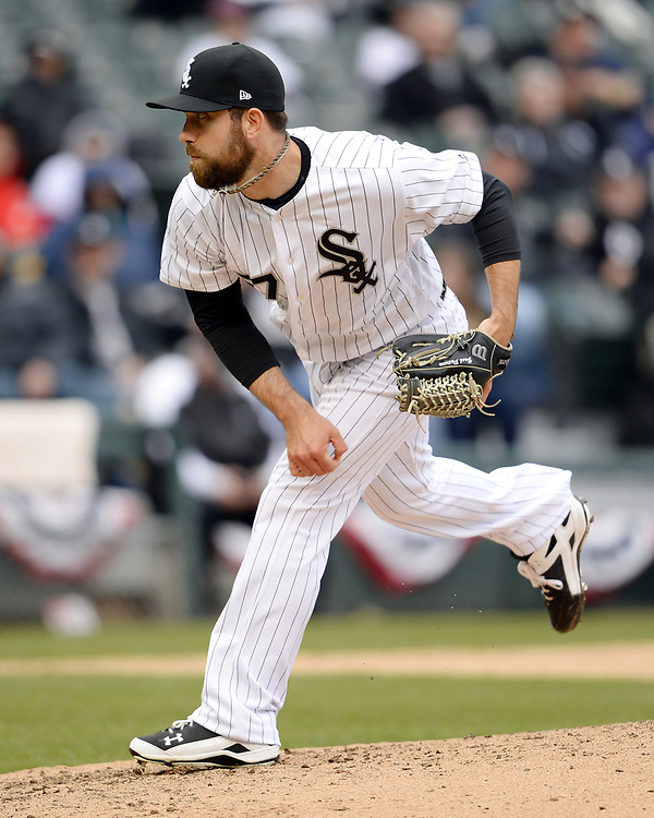 CHICAGO - APRIL 04:  Zach Putnam #57 of the Chicago White Sox pitches against the Detroit Tigers on April 04, 2017 at Guaranteed Rate Field in Chicago, Illinois.  The Tigers defeated the White Sox 6-3.  (Photo by Ron Vesely)   Subject:  Zach Putnam