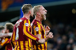 Andrew Davies of Bradford City celebrates after Bradford City pull of a remarkable comeback from 2-0 down to win the match 2-4 and progress to the fifth round of the FA Cup - Photo mandatory by-line: Rogan Thomson/JMP - 07966 386802 - 24/01/2015 - SPORT - FOOTBALL - London, England - Stamford Bridge - Chelsea v Bradford City - FA Cup Fourth Round Proper.