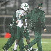 Marshall wide receiver Jermaine Kelson (18) leaves the playing field after being injured during an NCAA football game between the Marshall Thundering Herd and the Central Florida Knights at Bright House Networks Stadium on Saturday, October 8, 2011 in Orlando, Florida. (Photo/Alex Menendez)
