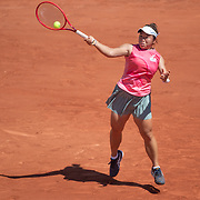 PARIS, FRANCE June 1. En-Shuo Liang of Taiwan in action against Fiona Ferro of France on Court Suzanne Lenglen during the first round of the singles competition at the 2021 French Open Tennis Tournament at Roland Garros on June 1st 2021 in Paris, France. (Photo by Tim Clayton/Corbis via Getty Images)