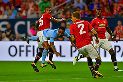 Manchester City forward Gabriel Jesus (33), Manchester United defender Victor Lindelof (2) and Manchester United defender Antonio Valencia (25) during the International Champions Cup match between Manchester United and Manchester City at NRG Stadium in Houston, Texas