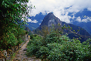 Trail to Machu Picchu ruins of Inca citadel in Peru, South America