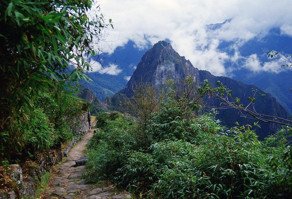 Trail to Machu Picchu ruins of Inca citadel in Peru, South America