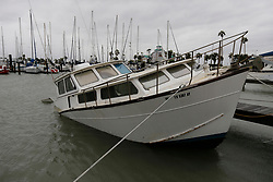 August 26, 2017 - Corpus Christi, Texas, U.S. - A boat appears partially sunk in the water in the municipal marina in Corpus Christi after Hurricane Harvey a category 4 storm ripped through the area overnight. (Credit Image: © San Antonio Express-News via ZUMA Wire)