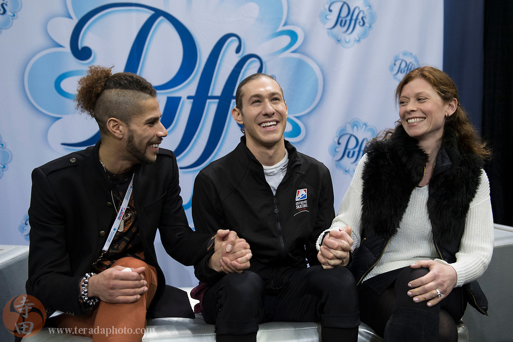 January 4, 2018; San Jose, CA, USA; Jason Brown reacts in kiss and cry in the mens short program during the 2018 U.S. Figure Skating Championships at SAP Center.