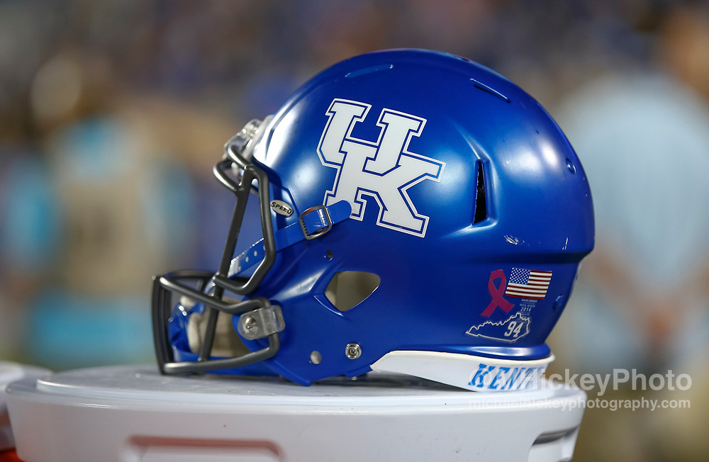 LEXINGTON, KY - OCTOBER 07: A Kentucky Wildcats helmet is seen during the game against the Missouri Tigers at Commonwealth Stadium on October 7, 2017 in Lexington, Kentucky. (Photo by Michael Hickey/Getty Images)