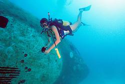 scuba diver explores Boeing 727-100 wreck, .sunk as an artificial reef in 1993, .Miami, Florida (Atlantic)..