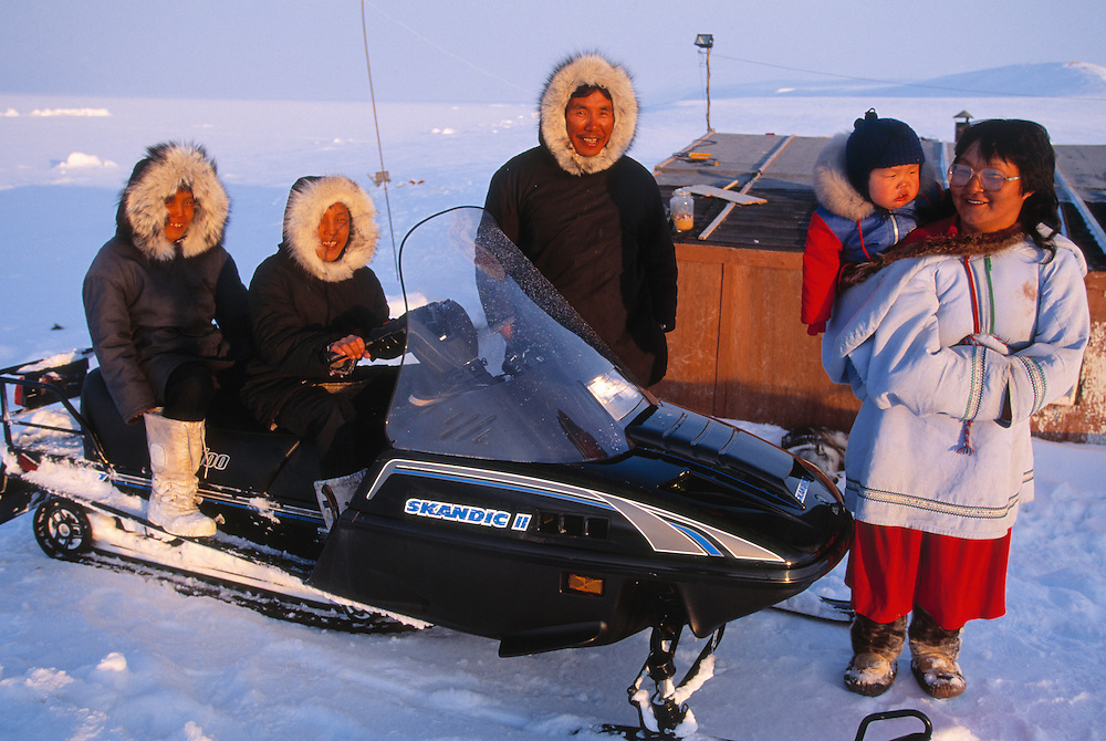 The Mucktar family in front of their house, Inuit from Pond Inlet, Baffin Island, Nunavut, Canada, Arctic