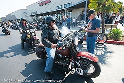 Carl Olsen arrives at the final checkpoint before the finish on his 1936 Harley Davidson Knucklehead during Stage 16 (142 miles) of the Motorcycle Cannonball Cross-Country Endurance Run, which on this day ran from Yakima to Tacoma, WA, USA. Sunday, September 21, 2014.  Photography ©2014 Michael Lichter.