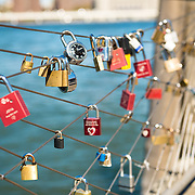 Padlocks left by couples on Brooklyn Bridge