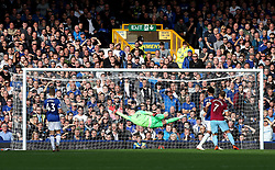 West Ham United's Andriy Yarmolenko (not pictured) scores his side's second goal of the game during the Premier League match at Goodison Park, Liverpool.