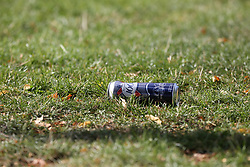 © Licensed to London News Pictures. 21/07/2020. London, UK. An empty can of drink within the crime scene in Finsbury Park, north London, following triple stabbings. Police officers were called at 2.51pm to reports of stabbings and assault in Finsbury Park, London. It has been reported that a group of men, who were intoxicated were involved in a fight. One man has been arrested. Photo credit: Dinendra Haria/LNP
