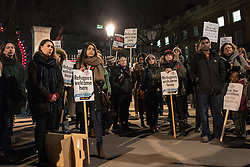© London News Pictures. London, UK. 29/02/16. Protesters demonstrate opposite Downing Street against the demolition of the 'Jungle' camp in Calais. French authorities have begun to evict the camp's residents, thought to number 5,500. . Photo credit: Rob Pinney/LNP