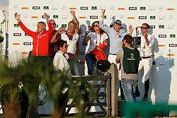 Bronze medal, Team Switserland, Duguet Romain, Fuchs Martin, Springer Janica, Estermann Paul, Kistler Andy<br /> Individual competition round 3 and Final Team<br /> FEI European Championships - Aachen 2015<br /> © Hippo Foto - Dirk Caremans<br /> 21/08/15