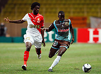 Fotball<br /> Frankrike<br /> Foto: DPPI/Digitalsport<br /> NORWAY ONLY<br /> <br /> FOOTBALL - FRENCH CHAMPIONSHIP 2009/2010 - L1 - AS MONACO v FC LORIENT - 22/08/2009<br /> <br /> LUKMAN HARUNA (ASM) / SIGAMARY DIARRA (LOR)