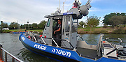 Israeli Police boat in the Kishon River, Haifa, Israel
