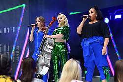 Clean Bandit during Capital's Summertime Ball with Vodafone at Wembley Stadium, London. This summer's hottest artists performed live for 80,000 Capital listeners at Wembley Stadium at the UK's biggest summer party. Performers included Camila Cabello, Shawn Mendes, Rita Ora, Charlie Puth, Jess Glyne, Craig David, Anne-Marie, Rudimental, Sean Paul, Clean Bandit, James Arthur, Sigala, Years & Years, Jax Jones, Raye, Jonas Blue, Mabel, Stefflon Don, Yungen and G-Eazy
