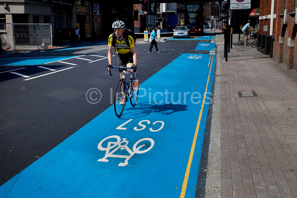 Barclays Cycle Superhighways are safe, fast, direct routes from outer London into central London. Here the CS7 route at Southwark is one of the first two routes which opened on 19th July 2010, with 10 more in construction or planning. Cycling in London is becoming increasingly popular and the Cycle Superhighway will make it far safer for cyclists on London's busy streets.