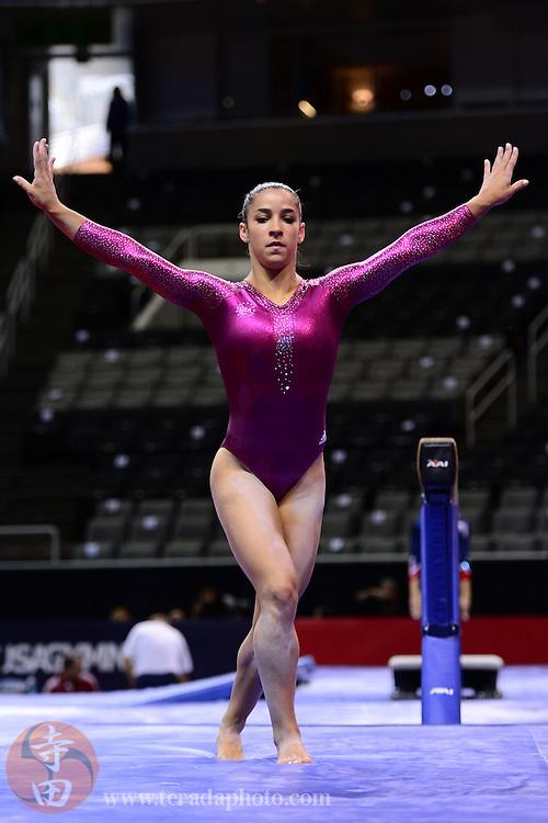 June 29, 2012; San Jose, CA, USA; Aly Raisman warms up on the balance beam during the 2012 USA Gymnastics Olympic Team Trials at HP Pavilion.