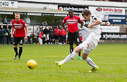 Falkirk's Aaron Muirhead scoring their first goal. Dunfermline 1 v 2 Falkirk, Scottish Championship game played 22/4/2017 at Dunfermline's home ground, East End Park.