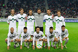 Slovenia team during the EURO 2012 Group C Qualifier match between Slovenia and Faroe Islands at Stozice stadium on October 8, 2010 in SRC Stozice, Ljubljana, Slovenia. (Photo by Vid Ponikvar / Sportida)