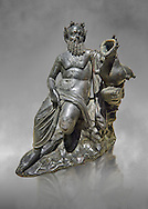 Roman Bronze sculpture of Silenus from atrium of the Villa of the Papyri in Herculaneum, Museum of Archaeology, Italy, grey art background ..<br /> <br /> If you prefer to buy from our ALAMY STOCK LIBRARY page at https://www.alamy.com/portfolio/paul-williams-funkystock/greco-roman-sculptures.html . Type -    Naples    - into LOWER SEARCH WITHIN GALLERY box - Refine search by adding a subject, place, background colour, etc.<br /> <br /> Visit our ROMAN WORLD PHOTO COLLECTIONS for more photos to download or buy as wall art prints https://funkystock.photoshelter.com/gallery-collection/The-Romans-Art-Artefacts-Antiquities-Historic-Sites-Pictures-Images/C0000r2uLJJo9_s0