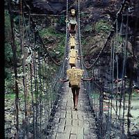 Suspension bridge, around Annapurna trek, Nepal.