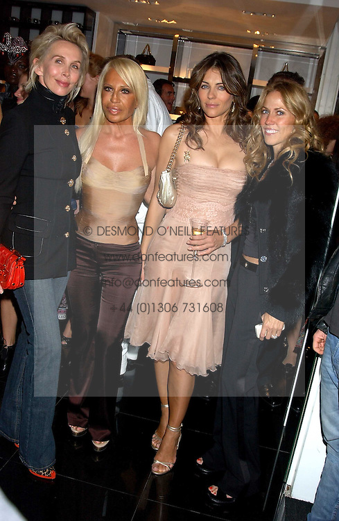 Left to right,  TRUDIE STYLER, DONATELLA VERSACE, LIZ HURLEY and singer SHERYL CROWE at a party hosted by Versace during London Fashion Week 2005 at their store in Slaone Street, London on 19th September 2005.<br /><br />NON EXCLUSIVE - WORLD RIGHTS