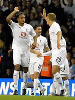 Photo: Ed Godden/Sportsbeat Images.<br /> Tottenham Hotspur v Anorthosis Famagusta. UEFA Cup, First Leg. 20/09/2007. Spurs' Younes Kaboul (left), celebrates his opening goal.