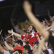 New York Red Bulls fans celebrate a goal during the New York Red Bulls Vs Chicago Fire, Major League Soccer regular season match at Red Bull Arena, Harrison, New Jersey. USA. 10th May 2014. Photo Tim Clayton