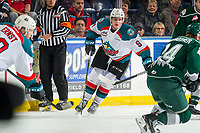 KELOWNA, CANADA - FEBRUARY 15: Mark Liwiski #9 of the Kelowna Rockets skates against the Everett Silvertips  on February 15, 2019 at Prospera Place in Kelowna, British Columbia, Canada.  (Photo by Marissa Baecker/Shoot the Breeze)