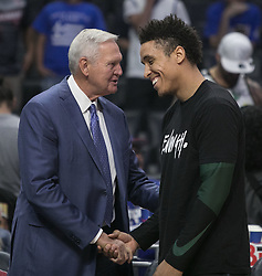 November 10, 2018 - Los Angeles, California, U.S - Malcolm Brogdon #13 of the Milwaukee Bucks is is greeted by Jerry West of the Los Angeles Clippers during their NBA game on Saturday November 10, 2018 at the Staples Center in Los Angeles, California. Clippers defeat Bucks in OT, 128-126. (Credit Image: © Prensa Internacional via ZUMA Wire)