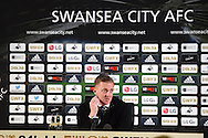 file pic Garry Monk has been sacked as Swansea manager on 9/12/2015. Swansea city manager Garry Monk speaks to the press at his final press conference after seeing his team lose the match 0-3. Barclays Premier league match, Swansea city v Leicester city at the Liberty Stadium in Swansea, South Wales on Saturday 5th December 2015.<br /> pic by  Andrew Orchard, Andrew Orchard sports photography