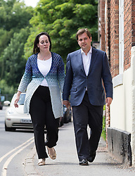 © Licensed to London News Pictures . 06/06/2014 . Southwell , Nottinghamshire , UK . The newly elected MP for Newark , ROBERT JENRICK (r) with his wife Michal Jenrick , visits and formally opens a newly refurbished pub , local to where he lives , The Bramley Apple in Southwell , this afternoon ( Friday 6th July 2014 ).  . Photo credit : Joel Goodman/LNP