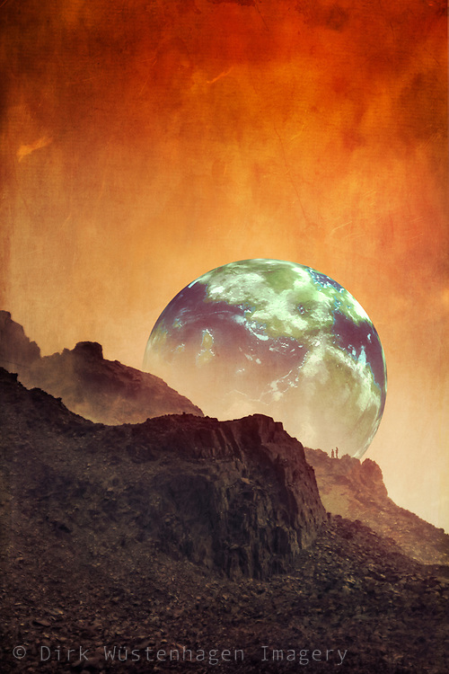 Surreal sci-fi landscape with earth like planet - photo manipulation