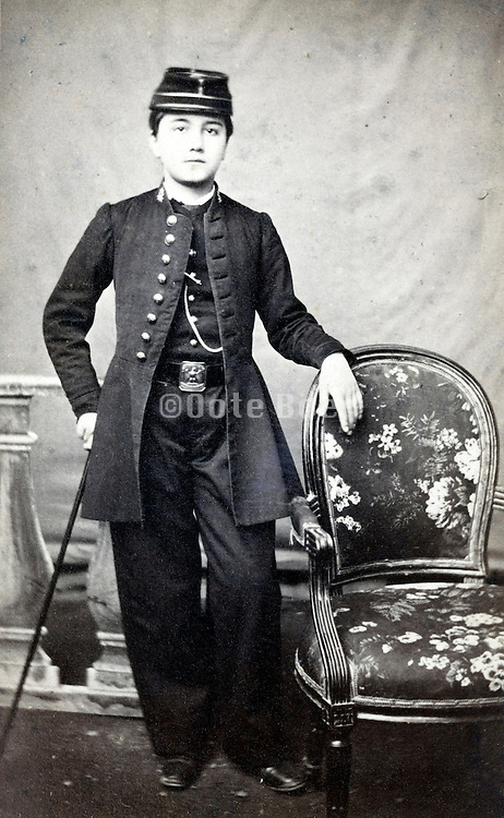 young adult dressed up in military unform France 1880s