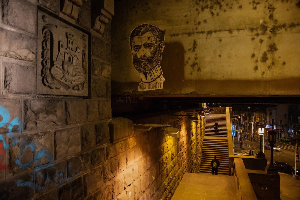 Stairs underneath Brankov Bridge with street art.<br /> <br /> Savamala neighborhood of Belgrade, Serbia.
