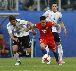 July 3, 2017 - Saint Petersburg, Russia - Charles Aranguiz (R) of Chile national team and Jonas Hector of Germany national team during FIFA Confederations Cup Russia 2017 final match between Chile and Germany at Saint Petersburg Stadium on July 2, 2017 in Saint Petersburg, Russia. (Credit Image: © Mike Kireev/NurPhoto via ZUMA Press)