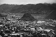 Landscape of a village spreading across a karstic valley, Ha Giang Province, Vietnam, Southeast Asia