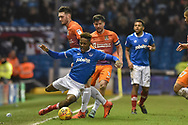 Portsmouth Forward, Jamal Lowe (18) is fouled by Northampton Town Midfielder, Matt Grimes (29) during the EFL Sky Bet League 1 match between Portsmouth and Northampton Town at Fratton Park, Portsmouth, England on 30 December 2017. Photo by Adam Rivers.