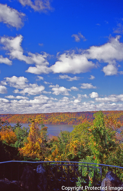 Fall on the Hudson River in Untermeyer Park Westchester County in Upstate New York