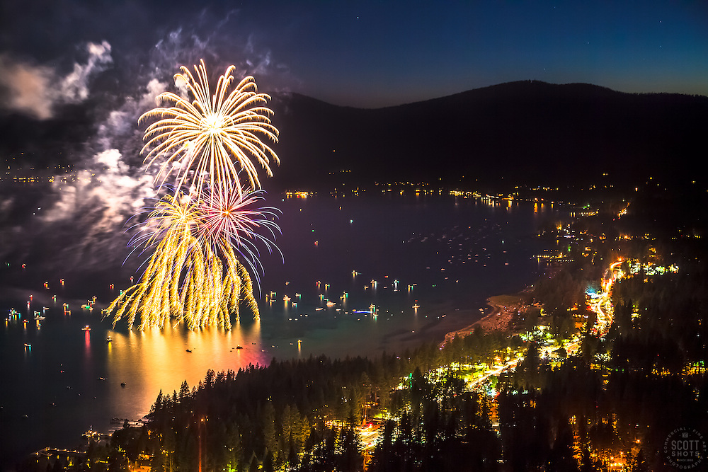"""""""Kings Beach Fireworks 3"""" - Photograph of the 4th of July fireworks show above Kings Beach, Lake Tahoe."""