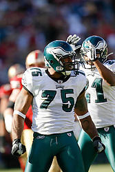 12 Oct 2008: Philadelphia Eagles defensive end Juqua Parker #75 reacts after a play during the game against the San Francisco 49ers on October 12th, 2008. The Eagles won 40-26 at Candlestick Park in San Francisco, California. (Photo by Brian Garfinkel) (Photo by Brian Garfinkel)