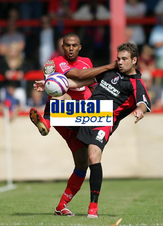 Photo: Lee Earle/Richard Lane Photography. <br /> Aldershot Town v AFC Bournemouth. Coca Cola League 2. 16/08/2008.    Aldershot's Louie Soares (L) battles with Brett Pitman.