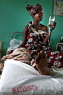 Senegal, May 2009. Pregnant woman in hospital where Woman's group meeting happened. (see Lindsey for information)
