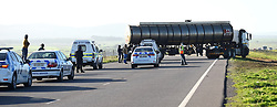 SOUTH AFRICA - Cape Town - 7 July  2020  - South African truck drivers are protesting some have been using their company trucks to block the main roads like N1 and N7 going to Namibia.They are demanding that employers lay-off all foreign nationals driving their trucks, with immediate effect. Picture: Phando Jikelo/African News Agency(ANA)