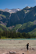 View of Avalanche Falls and Lake, Glacier National Park, Montana; August, 2011