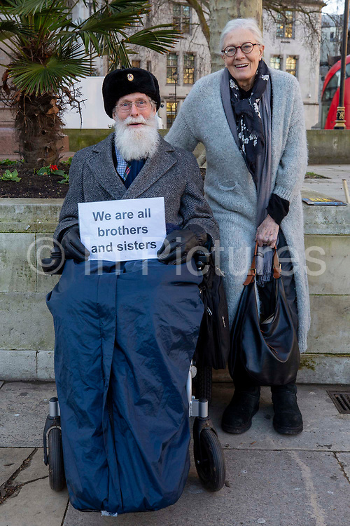 Frank a Safe Passage supporter with Vanessa Redgrave CBE and other supporters of the Child Refugee charity Safe Passage calling on Peers in the House of Lords to back an amendment and uphold refugee family reunion on the 20th of January 2020 in Parliament Square, Westminster, London, United Kingdom. 95% of the children currently receiving legal support from the charity Safe Passage International to reunite with relatives in the UK would not be eligible for family reunion under current UK Immigration Rules.