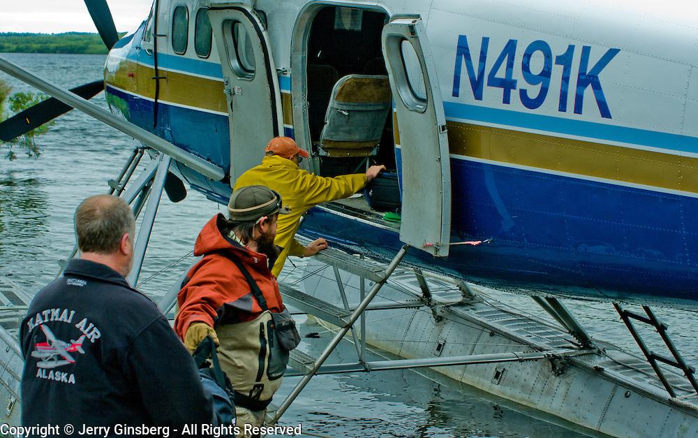North America, United States, US, Northwest, Pacific Northwest, West, Alaska,  Katmai, Katmai National Park, Katmai NP. Traveling by floatplane in Katmai National Park, Alaska.