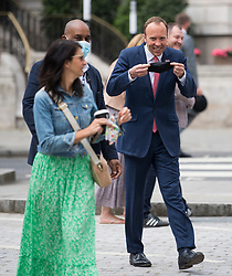 © Licensed to London News Pictures. FILE PICTURE :06/06/2021. London, UK. Gina Coladangelo (Left) with Health secretary Matt Hancock at BBC Broadcasting House in central London where the Health Secretary appeared on The Andrew Marr show. Photo credit: Ben Cawthra/LNP